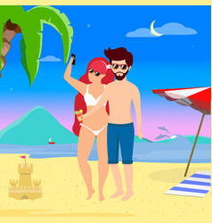 young loving couple on leisure at tropical island vector image