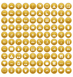 100 world icons set gold vector