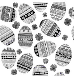 black and white seamless with easter eggs vector image vector image