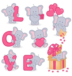collection of cute valentine elephant vector image