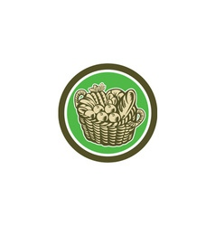 Crop Harvest Basket Circle Retro vector image