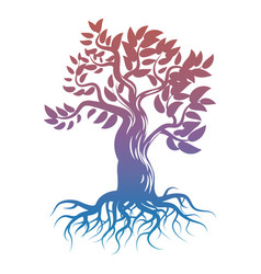 magic bright tree with roots tree silhouette vector image