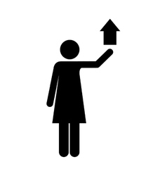 up arrow and woman pictogram icon image vector image vector image