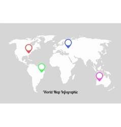 World map infographic with pointers vector image