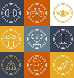 crossfit and fitness logos and emblems vector image vector image