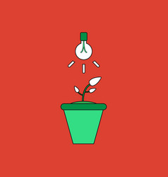 Flat icon design collection plant and light vector