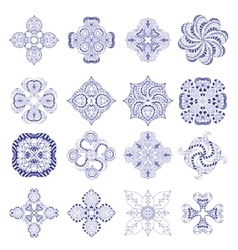 Ornament round set vector image