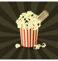Popcorn bowl and ticket vector image vector image