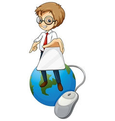 A man standing above the globe holding a cellphone vector image vector image
