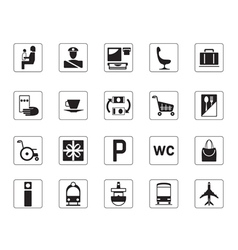 Airport bus station and railway station icons set vector image