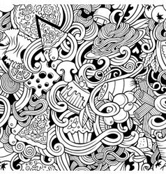 Cartoon hand-drawn doodles of italian cuisine vector image