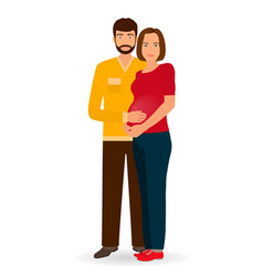 happy pregnancy family couple of man and pregnant vector image
