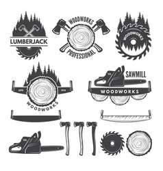 monochrome labels set with lumberjack and pictures vector image