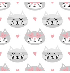seamless pattern background with cute cats vector image