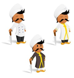 set of cartoon indian cook chef with moustache vector image vector image