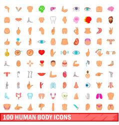 100 human body icons set cartoon style vector image vector image