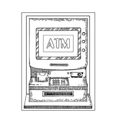 automated teller machine engraving style vector image vector image