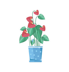 Cute spring colorful flower in pot icon vector