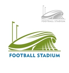 Football stadium building with flags vector image vector image