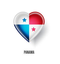 patriotic heart symbol with panama flag vector image vector image