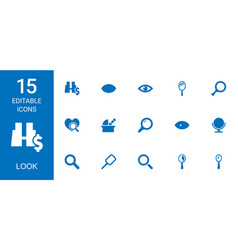 15 look icons vector