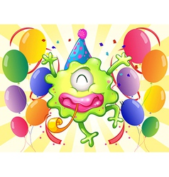 A happy monster in the middle of the balloons vector