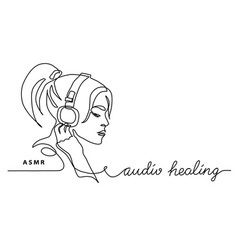 Asmr conceptgirl woman in headphones simple vector