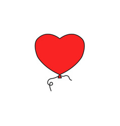balloon heart and love solid icon valentines day vector image