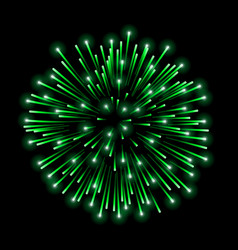Beautiful green firework bright salute isolated vector