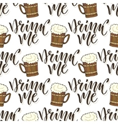 Beer mugs seamless pattern October fest vector image