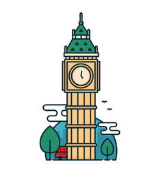 Big ben tower in london trees red bus vector