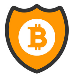 bitcoin shield flat icon vector image