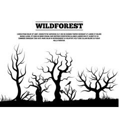 Black wild old forest landscape background vector