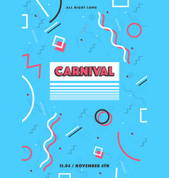 Blue carnival poster abstract memphis 80s 90s vector