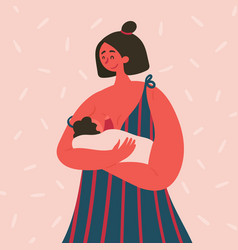 Breast feeding happy woman with baon her hands vector