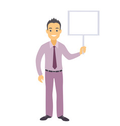 Business man character with a blank message board vector