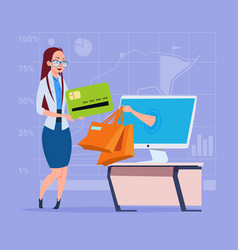 business woman use computer online shopping bag vector image