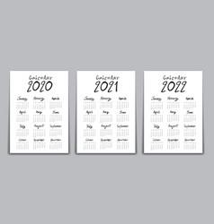Calendar 2020 2021 2022 year template vector