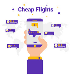 Cheap flights the concept of travel flat vector
