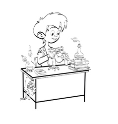 Chemistry boy schoolboy pours vials vector