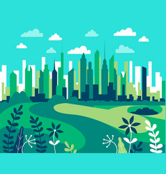 city landscape flat design urban in simple vector image