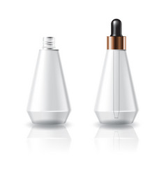 Clear cosmetic cone shape bottle with dropper lid vector