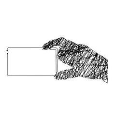 Continuous line hand holding card vector