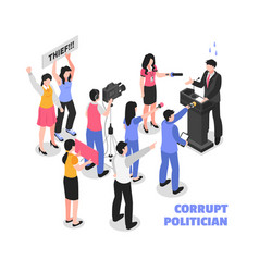 corrupt politician white background vector image