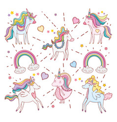 Cute unicorns with rainbow clouds and hearts vector