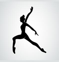 Dancer standing on one leg black elegant vector