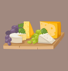 Delicious fresh cheese variety italian different vector