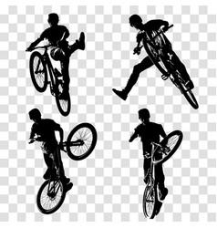 Dirt jumping trick biker silhouette vector