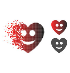 Dispersed dotted halftone happy love heart icon vector