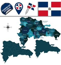 Dominican Republic map with named divisions vector image